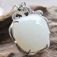 Hetian Jade Pendant, with 925 Sterling Silver, Apple, with rhinestone, white, 23.80x35.50mm, Hole:Approx 4x7mm, 2PCs/Lot, Sold By Lot