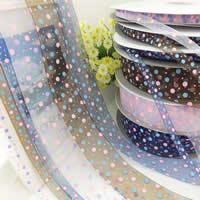Wstążka Szyfonowa, Szyfon, różnej wielkości do wyboru & wzór w okrągłe plamki, dostępnych więcej kolorów, sprzedane przez wiele