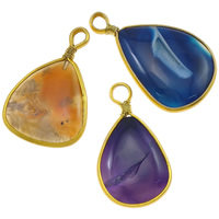 Agate Jewelry Pendants, Mixed Agate, with Iron, Teardrop, gold color plated, mixed colors, 21-47mm, Hole:Approx 6mm, 20PCs/Lot, Sold By Lot