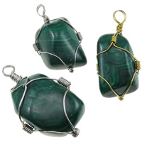 Malachite Pendants, with Iron, plated, mixed, 22-43mm, Hole:Approx 6mm, 10PCs/Lot, Sold By Lot
