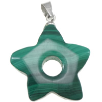 Malachite Pendants, with brass bail, Star, natural, 21x27x5mm, Hole:Approx 4mm, 5PCs/Lot, Sold By Lot