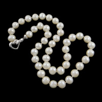Natural Freshwater Pearl Necklace, brass foldover clasp, Round, white, 9-10mm, Sold Per Approx 18 Inch Strand