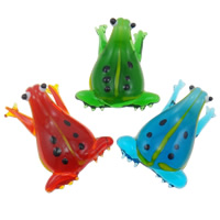 Ciondoli in vetro lavorato alla moda, Rana, fatto a mano, colori misti, 27x42x12.50mm, Foro:Appross. 6-8mm, 12PC/scatola, Venduto da scatola