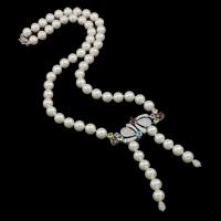 Srebrny naszyjnik z perłami, Perła naturalna słodkowodna, ze Srebro 925, Koło, Naturalne, z sześcienną cyrkonią, biały, 9-10mm, sprzedawane na około 18 cal Strand