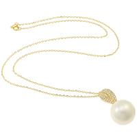 Akoya Cultured Pearls Necklace, with 18K Gold & 14K Gold, Round, natural, oval chain & micro pave cubic zirconia, white, 14-15mm, Sold Per Approx 17 Inch Strand