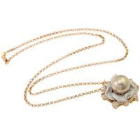 Perła Akoya hodowlana Naszyjnik, ze Złoto 18K, Kwiat, Naturalne, Rolo łańcucha & mikro utorować cyrkonia, 14-15mm, sprzedawane na około 20.5 cal Strand