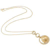 Akoya Cultured Pearls Necklace, with 18K Gold, Round, natural, rope chain & micro pave cubic zirconia, gold, 14-15mm, Sold Per Approx 17 Inch Strand
