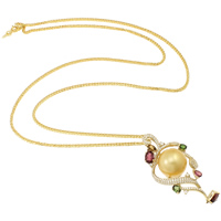 Akoya Cultured Pearls Necklace, with 18K Gold & 14K Gold, Round, natural, rope chain & micro pave cubic zirconia, gold, 14-15mm, Sold Per Approx 22.5 Inch Strand