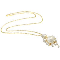 Akoya Cultured Pearls Necklace, with 18K Gold, Round, natural, rolo chain & micro pave cubic zirconia, white, 17-18mm, Sold Per Approx 25 Inch Strand