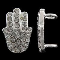 Хамса цинкового сплава разъем, цинковый сплав, плакирован серебром, Еврейских украшений & Ислам ювелирные изделия & со стразами & 1/1 петля, не содержит никель, свинец, 9.50x13x6mm, отверстие:Приблизительно 3mm, 10ПК/сумка, продается сумка