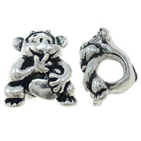 Zinc Alloy European Beads, Monkey, antique silver color plated, without troll, nickel, lead & cadmium free, 12.50x15x10.50mm, Hole:Approx 5mm, Sold By PC