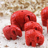 Zawieszki Cinnabar, Cynober, Słoń, rzeźbione & różnej wielkości do wyboru, otwór:około 1-2mm, sprzedane przez wiele