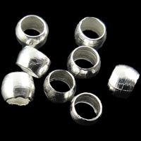 Iron Crimp Bead, Rondelle, silver color plated, nickel, lead & cadmium free, 2mm, Hole:Approx 0.5-1mm, Approx 10000PCs/Bag, Sold By Bag