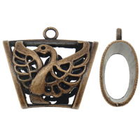 Zinc Alloy Scarf Slide Bail, Trapezium, antique copper color plated, hollow, lead & cadmium free, 40x35x19mm, Hole:Approx 4mm, Sold By PC