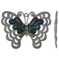Zinc Alloy Animal Pendants, Butterfly, plumbum black color plated, enamel & with rhinestone, lead & cadmium free, 65x51x5mm, Hole:Approx 2mm, 10PCs/Bag, Sold By Bag