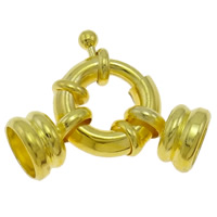 Brass Spring Ring Clasp gold color plated nickel lead   cadmium free 28x16x9mm Hole:Approx 7mm 20PCs/Bag