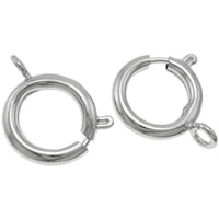 Brass Spring Ring Clasp Donut platinum color plated nickel lead   cadmium free 18.50x21.50x5mm Hole:Approx 2.5mm 10PCs/Bag