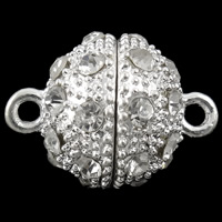 Zinc Alloy Magnetic Clasp, Round, silver color plated, with rhinestone & single-strand, nickel, lead & cadmium free, 22x16.5mm, Hole:Approx 2mm, 10PCs/Bag, Sold By Bag