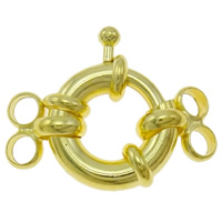 Zinc Alloy Spring Ring Clasp, Donut, gold color plated, 2-strand, nickel, lead & cadmium free, 22x15x5mm, Hole:Approx 2.5mm, 100PCs/Bag, Sold By Bag