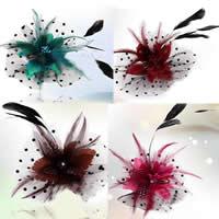 Цветок волос клип Брошь, перья, с Марля & Железо, Форма цветка, можно использовать в качестве броши или цветка волос & со стразами, разноцветный, 160mm, 5ПК/сумка, продается сумка