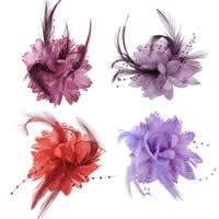 Цветок волос клип Брошь, перья, с Марля & Эластичный Шнур капроновый & ткань & Железо, Форма цветка, можно использовать в качестве броши или цветка волос, разноцветный, 110mm, 10ПК/сумка, продается сумка