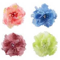 Цветок волос клип Брошь, Органза, с Эластичный Шнур капроновый & Хлопок & Железо, можно использовать в качестве броши или цветка волос & со стразами, разноцветный, 120mm, 5ПК/сумка, продается сумка