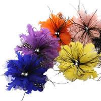 Цветок волос клип Брошь, перья, с Шерстяная ткань & Железо, Форма цветка, можно использовать в качестве броши или цветка волос & со стразами, разноцветный, 150mm, 3ПК/сумка, продается сумка