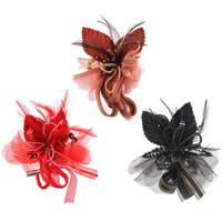 Цветок волос клип Брошь, Органза, с Пластиковые блестки & перья & Стеклянный бисер & Железо, можно использовать в качестве броши или цветка волос, разноцветный, 110mm, 10ПК/сумка, продается сумка