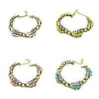 Мода себе браслет, цинковый сплав, с канифоль, с 1.9Inch наполнитель цепи, плакирован золотом, со стразами, Много цветов для выбора, не содержит никель, свинец, 30x15mm, длина:Приблизительно 6.7 дюймовый, 20пряди/Лот, продается Лот