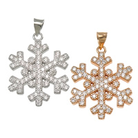 Cubic Zirconia Micro Pave Sterling Silver Pendant, 925 Sterling Silver, Snowflake, plated, micro pave cubic zirconia, more colors for choice, 18x22x2mm, Hole:Approx 3x4mm, 5PCs/Lot, Sold By Lot