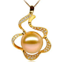 Golden South Sea Pearl Pendant, with Brass, Flower, natural, different size for choice & with rhinestone, golden, Grade AAA, Sold By PC