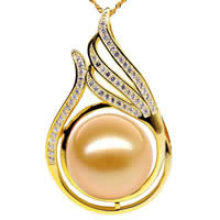 Golden South Sea Pearl Pendant, with Brass, natural, with rhinestone, gold, Grade AAA, 13-14mm, Sold By PC