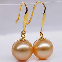 Golden South Sea Pearl Drop Earring with Brass Round natural gold Grade AAA 10-11mm