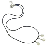 Natural Freshwater Pearl Necklace, with Rubber, iron lobster clasp, Round, white, 10x21x9mm, Sold Per 15.5 Inch Strand