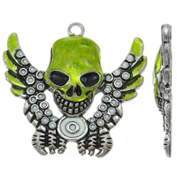 Zinc Alloy Skull Pendants, antique silver color plated, enamel, lead & cadmium free, 66x62x9mm, Hole:Approx 5mm, Sold By PC