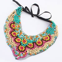 Glass Seed Bead Sweater Necklace, with Lace & Satin Ribbon, multi-colored, 100mm, Sold Per Approx 39 Inch Strand