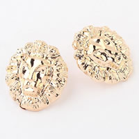 Zinc Alloy Stud Earring, stainless steel post pin, Lion, gold color plated, nickel, lead & cadmium free, 23x20mm, Sold By Pair