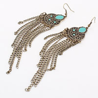 Zinc Alloy Tassel Earring, with iron chain & Resin, plated, nickel, lead & cadmium free, 125x24mm, Sold By Pair