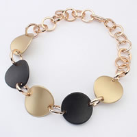 Zinc Alloy Necklace, with brass chain, Flat Round, gold color plated, with painted & rolo chain, nickel, lead & cadmium free, 43mm, Sold Per Approx 17.5 Inch Strand
