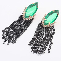 Zinc Alloy Tassel Earring, with iron chain & Acrylic, gold color plated, with painted & with rhinestone, nickel, lead & cadmium free, 70x15mm, Sold By Pair