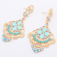 Fashion Statement Earring, Zinc Alloy, with Resin Rhinestone, stainless steel post pin, Flower, gold color plated, enamel & with rhinestone, nickel, lead & cadmium free, 67x37mm, Sold By Pair