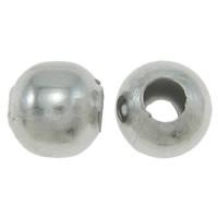 Żelazne koraliki, żelazo, Bęben, Platerowane w kolorze platyny, bez zawartości niklu, ołowiu i kadmu, 7x6mm, otwór:około 3mm, około 450komputery/torba, sprzedane przez torba