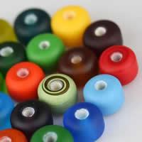 Matowe koraliki, Lampwork, Okrąg, Ręcznie robione, oszroniony, mieszane kolory, 10x7mm, otwór:około 2.5mm, 50komputery/torba, sprzedane przez torba