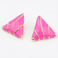 Zinc Alloy Stud Earring, stainless steel post pin, Triangle, gold color plated, enamel, nickel, lead & cadmium free, 26x26mm, Sold By Pair