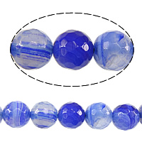 Natural Blue Agate Beads, Round, faceted, 8mm, Hole:Approx 1mm, Length:Approx 15 Inch, 10Strands/Lot, Approx 48PCs/Strand, Sold By Lot
