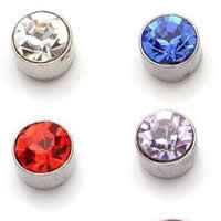 Zinc Alloy Magnetic Stud Earring, Flat Round, silver color plated, with rhinestone, mixed colors, nickel, lead & cadmium free, 5mm, 50Pairs/Bag, Sold By Bag