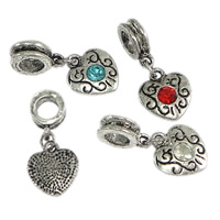 Brass European Pendant, Heart, antique silver color plated, with rhinestone, more colors for choice, nickel, lead & cadmium free, 13x14.5x3mm, 4x13mm, 27mm, Hole:Approx 5mm, 200PCs/Lot, Sold By Lot