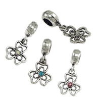 Brass European Pendant, Flower, antique silver color plated, more colors for choice, nickel, lead & cadmium free, 12x15x2.5mm, 4x13mm, 28mm, Hole:Approx 4.5mm, 200PCs/Lot, Sold By Lot