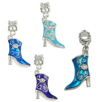 Brass European Pendant, Shoes, platinum color plated, enamel & with rhinestone, more colors for choice, nickel, lead & cadmium free, 34mm, 16.5x21x5mm, 7x11mm, Hole:Approx 4.5mm, 100PCs/Lot, Sold By Lot
