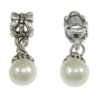 Brass European Pendant, with Glass Pearl, Round, antique silver color plated, without troll & with rhinestone, nickel, lead & cadmium free, 24mm, 8x12.5mm, 7x11mm, Hole:Approx 4.5mm, 100PCs/Lot, Sold By Lot